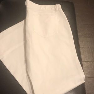 Lands End Bootcut Denim in White Size 16